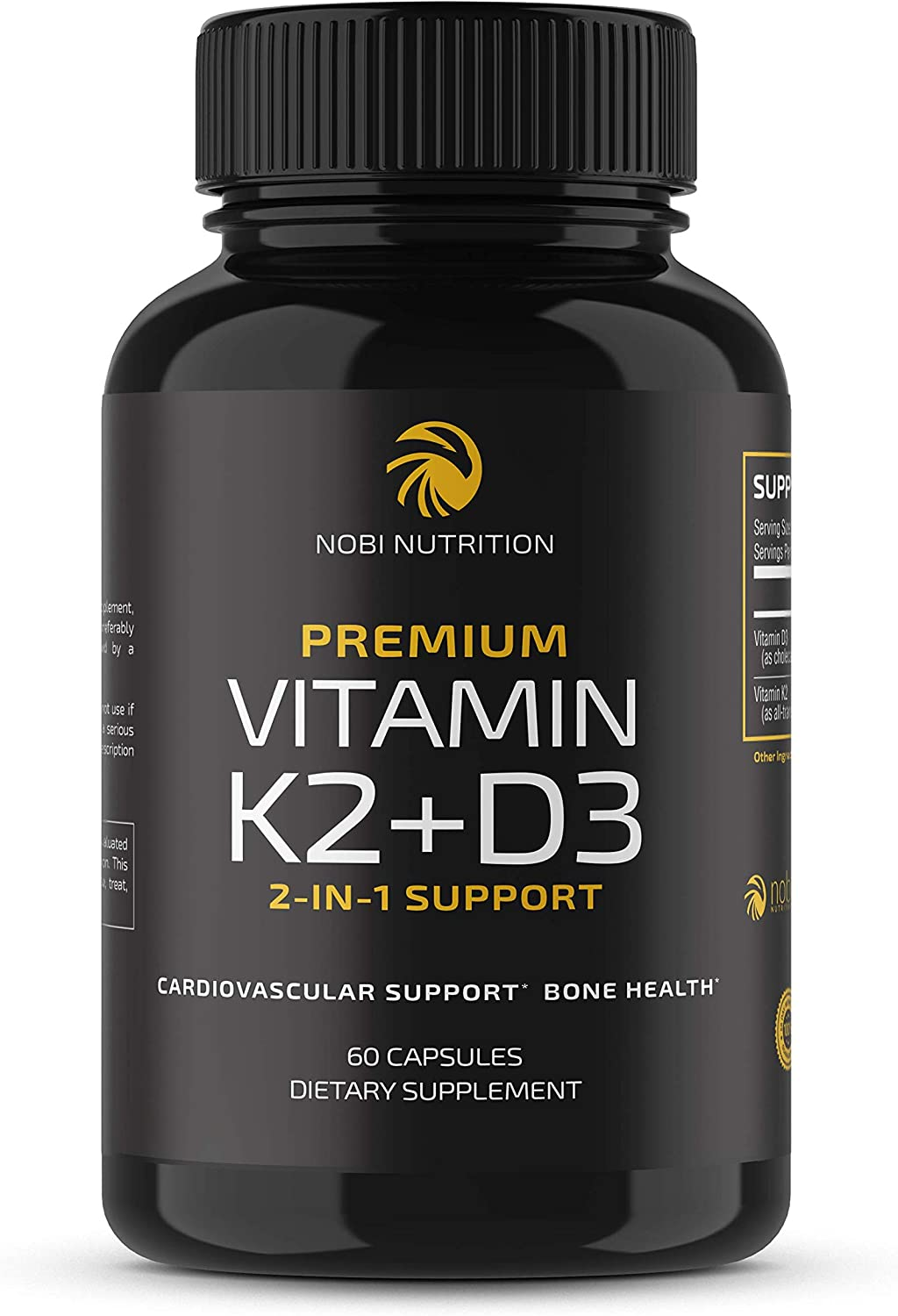 Nobi Nutrition Vitamin K2 + D3 with Bioperine for Max Absorption - 2-in-1 Support for Your Heart, Bones & Teeth (60 Capsules)
