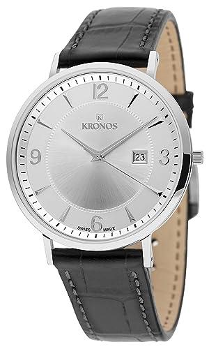 KRONOS - First Class Silver 971.105 - Reloj de Caballero de Cuarzo, Correa de Piel Negra, Color Esfera: Plateada: Amazon.es: Relojes