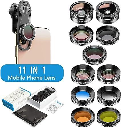 WQYRLJ 11 En 1 Teléfono con Cámara Kit De La Lente, 140 ° Gran Angular Macro Filtro De Color/Grad Completa CPL ND Filtro Estrella para iPhone Xiaomi Todo Smartphone: Amazon.es: Deportes y