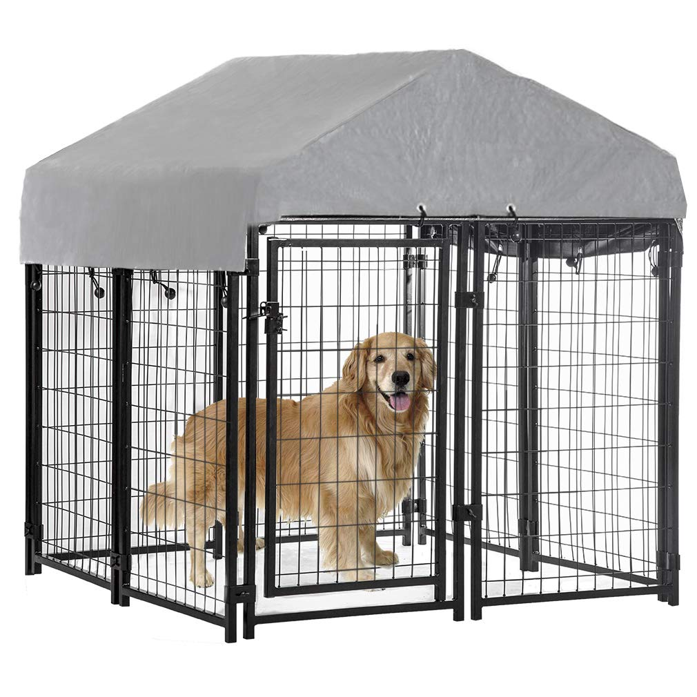 BestPet Large Dog Crate Cage Metal Wire Kennel Double-Door Folding Pet Animal Pet Cage with Plastic Tray and Handle