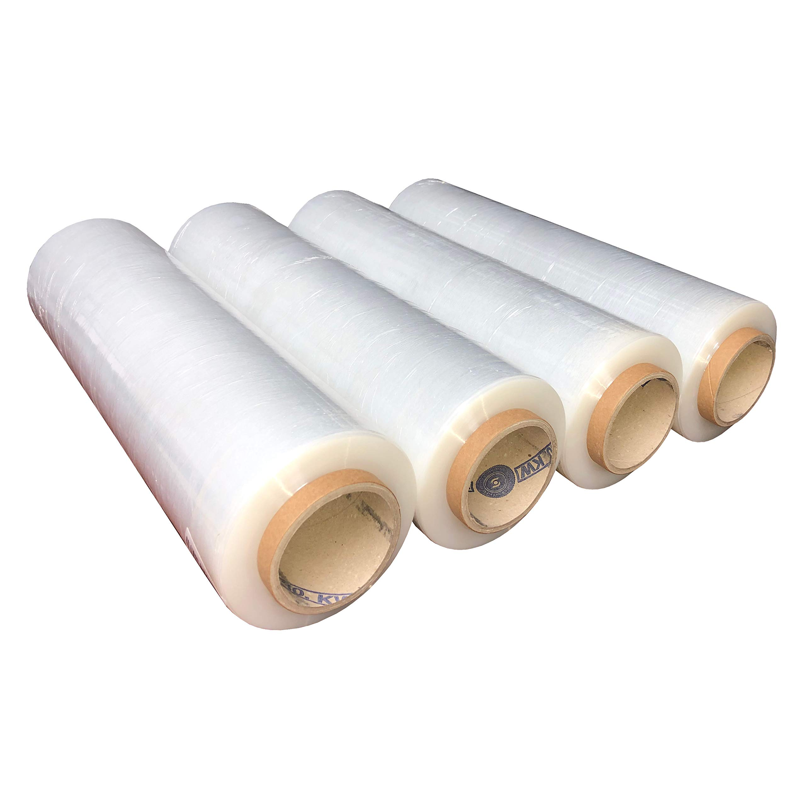 Stretch Wrap Industrial Strength 1500ft x 18'' by PACK of AMERICA Plastic Shrink Wrapping Film, Packing & Moving Supplies, Pallets, Furniture, Boxes, Shipment Protection (4 Pack Clear 3'' Core 80 Gauge)