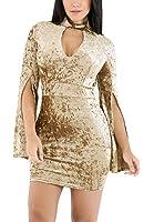 METERDE Women's Choker Neck Mini Bodycon Dress with Flare Sleeves
