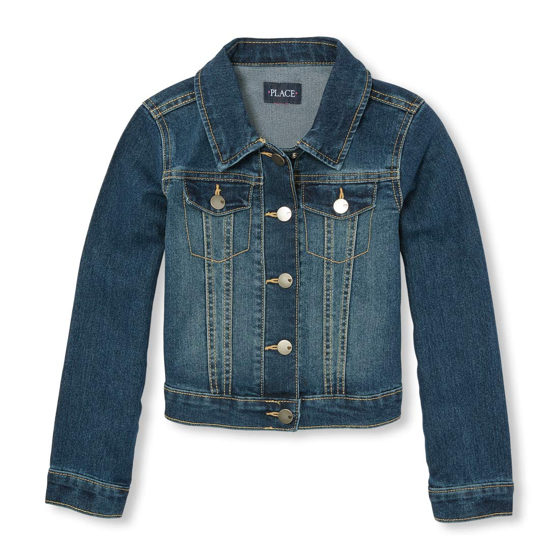 The Children's Place Big Girls' Denim Jacket, Dark Stone, Medium/7-8 by The Children's Place