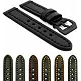 StrapsCo Vintage Thick Leather Watch Band with Heavy Duty Stitching (Choice of Buckle) 18mm 20mm 22mm 24mm 26mm