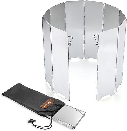 Folding Stove Windscreen 10 Plates Aluminum Lightweight Burner Windshield Campin