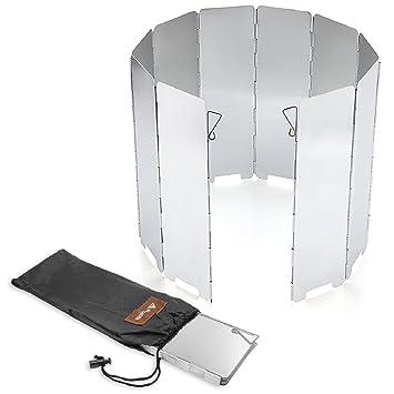 SOLEADER Paravientos Plegable para Camping Cocina Parabrisas para Estufa de Gas al aire libre 10 Placas: Amazon.es: Deportes y aire libre