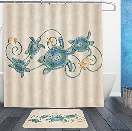 HOMESTORES Ocean Friends Sea Turtle Shower Curtain Liner With Hooks And Bath Rug Mat