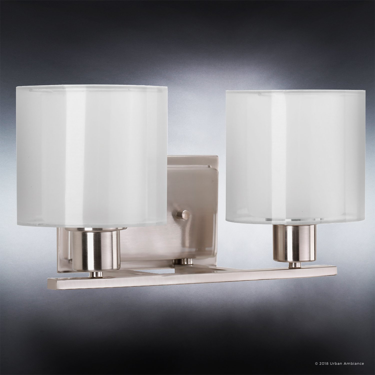 Luxury Cosmopolitan Bathroom Vanity Light, Medium Size: 7.375''H x 14.5''W, with Transitional Style Elements, Brushed Nickel Finish and White Shade, UHP2510 from The Tacoma Collection by Urban Ambiance by Urban Ambiance (Image #4)