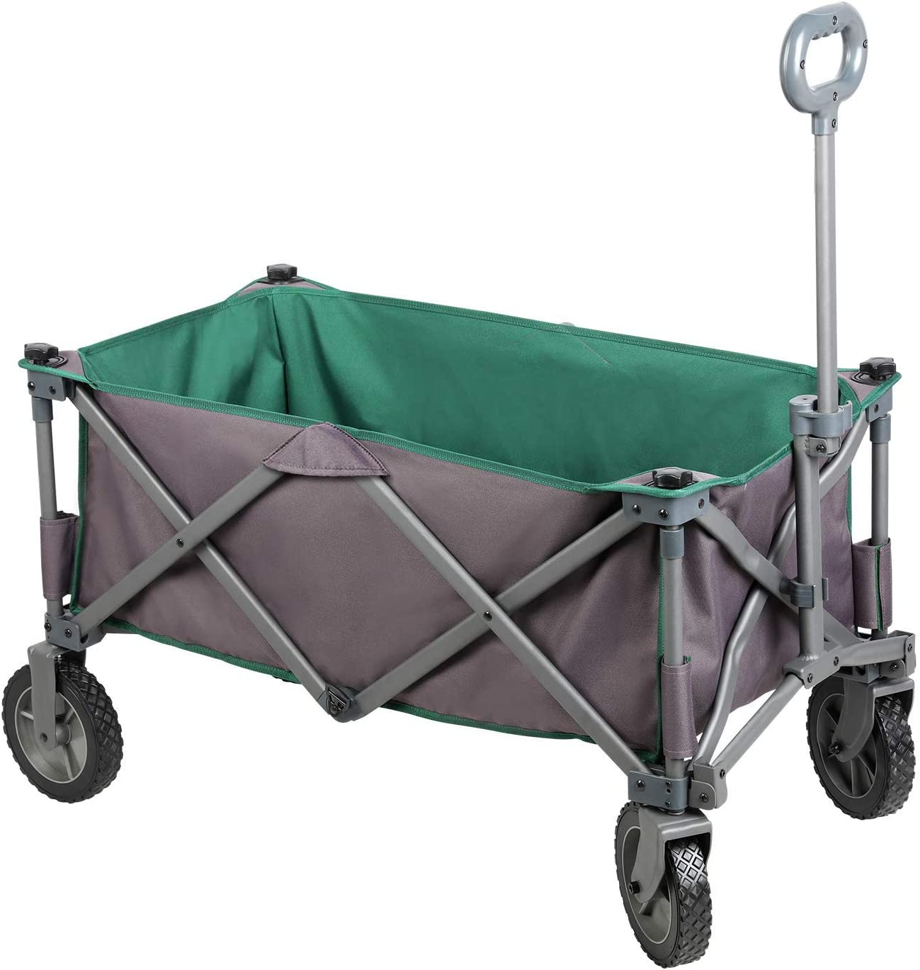 PORTAL Collapsible Folding Utility Wagon Quad Compact Outdoor Garden Camping Cart with Removable Fabric, Support up to 225 lbs Grey Green