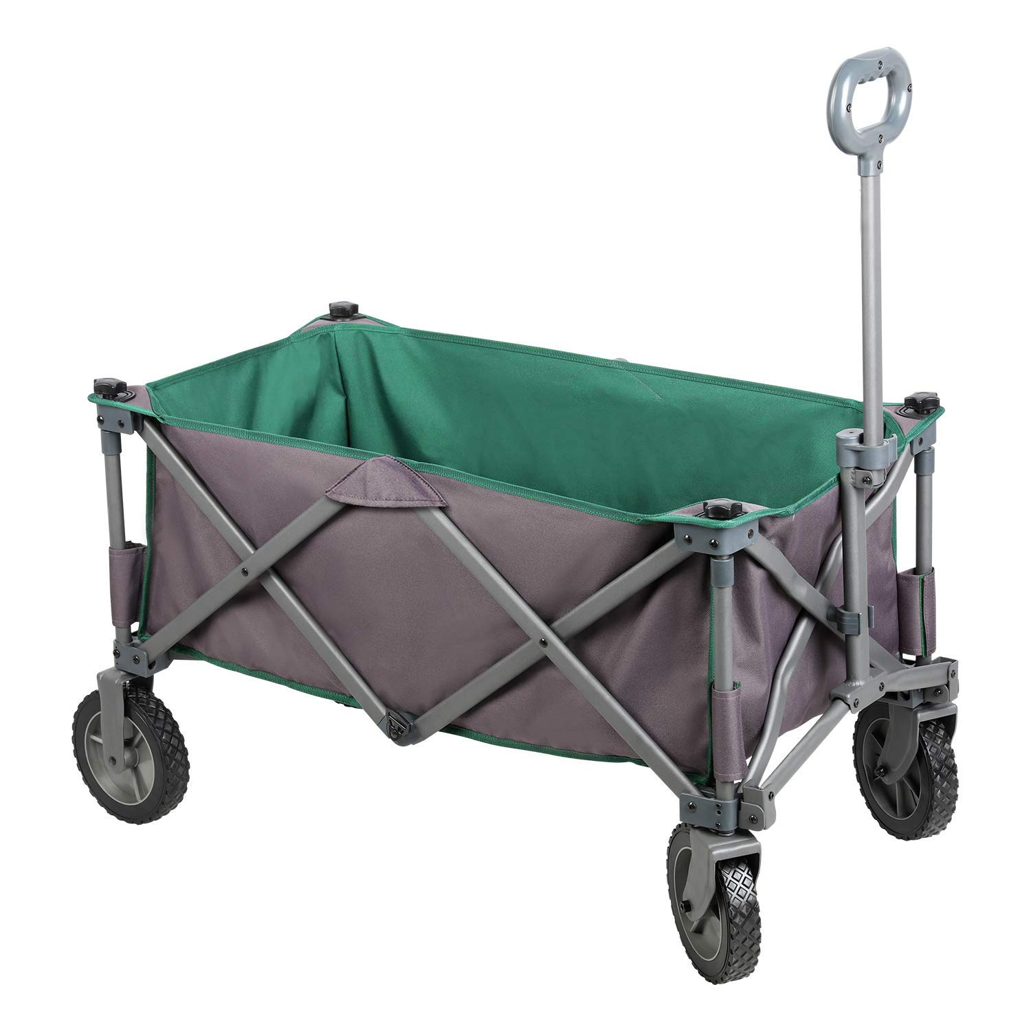 PORTAL Collapsible Folding Utility Wagon Quad Compact Outdoor Garden Camping Cart with Removable Fabric, Support up to 225 lbs (Grey/Green)