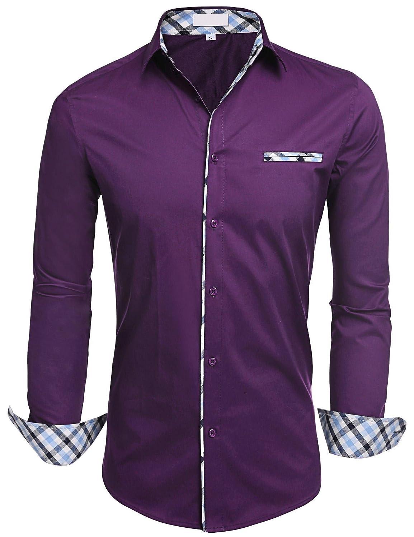 HOTOUCH Herren Hemd Baumwolle Langarmhemd Slim Fit Freizeithemd Bügelleicht B075161RD3 Freizeit Moderate Kosten