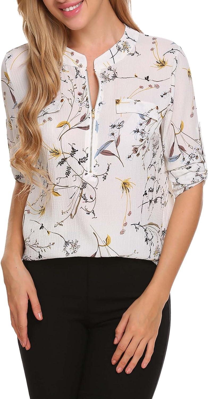 ANGVNS Women Chiffon Blouse V Neck Office Work Blouse for Women Dress Shirts Tops for Summer