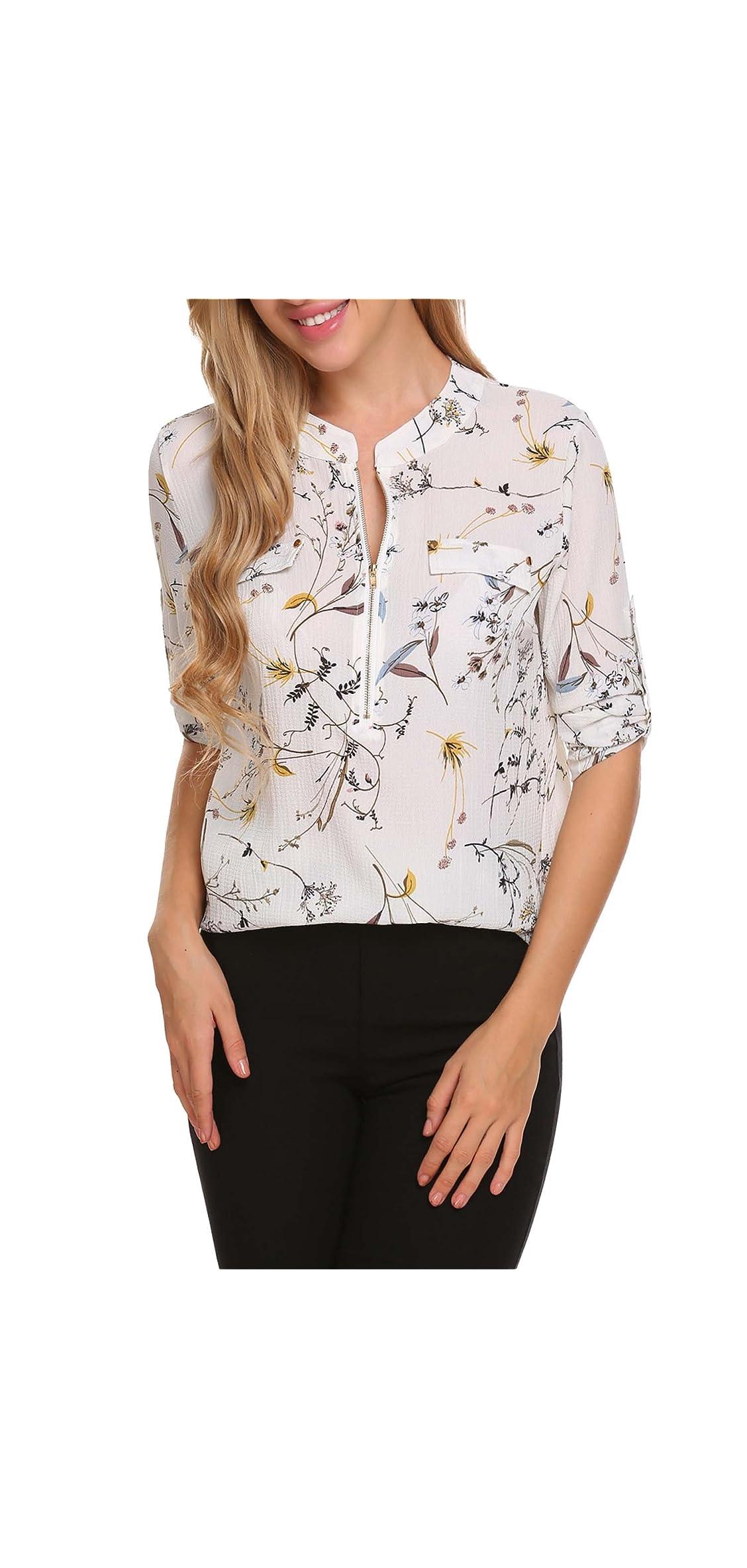 Women Long Sleeve Chiffon Blouse V Neck Office Work For