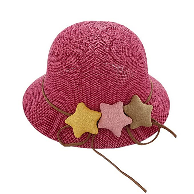 94b99183398f06 Image Unavailable. Image not available for. Color: Star Toddler Straw  Summer Sun Beach Hats Kids Travel Broad-Brimmed Hat Rose
