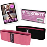 Teknifit Glute Band - Premium Fabric Resistance Band - Non Slip Design for Women - Pink Or Black Booty Band - Free Workout E-Book with Butt and Leg Toning Exercise Guide