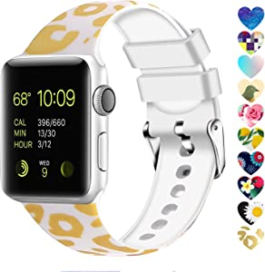 Moretek Colorful band Compatible for Apple Watch 38mm 42mm 40mm 44mm,Soft Silicone Sport Replacement Strap for iWatch Series 5 4 3 2 1, Nike+, Edition Women Men (Flower 10, 42/44mm)