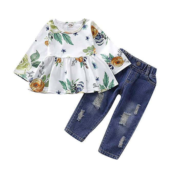 NZRVAWS Girls Clothes 2PCS Floral Flower Ruffle Long Sleeve Top Pants Set Infant Jeans Outfits Toddler Girl Clothes