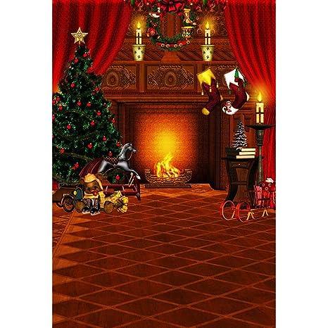 Guirnalda de Chimenea para Interior o Interior, diseño de árbol de Navidad, Color Rojo