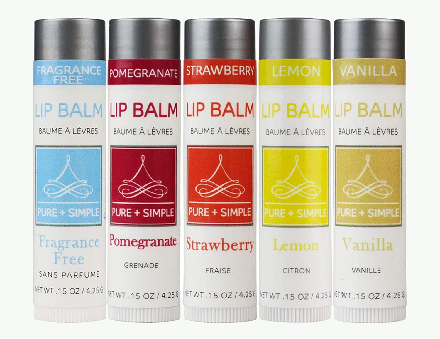 Vegan Lip Balm by PURE + SIMPLE Melody Lip Balm Collection Fragrance Free, Pomegranate, Strawberry, Lemon, Vanilla, 5 Tube Set, Beeswax Free, with Candelilla Wax, Moisturize Dry, Chapped, Lips