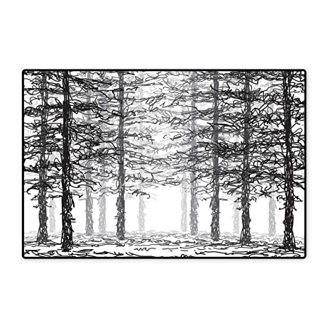 Forest Bath Mats For Floors Monochrome Nature Sketch Abstract Scribble Style Tall Trees Timberland Grove Customize Door Mats For Home Mat 24 X36