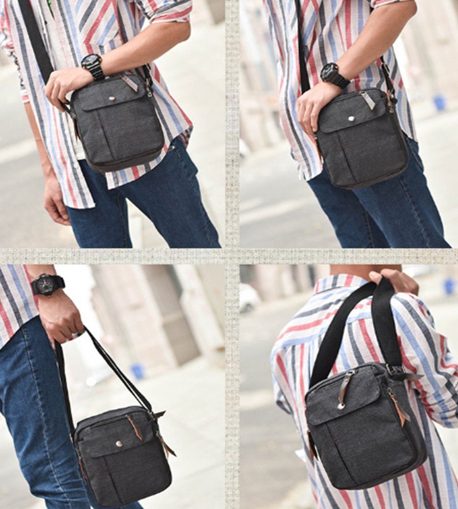 Mens Multifunction Canvas Crossbody Shoulder Bag Outdoor Travel Small Satchel Bag,Multi-Pocket Purse Handbag Organizer Bag,Black by dealcase (Image #6)
