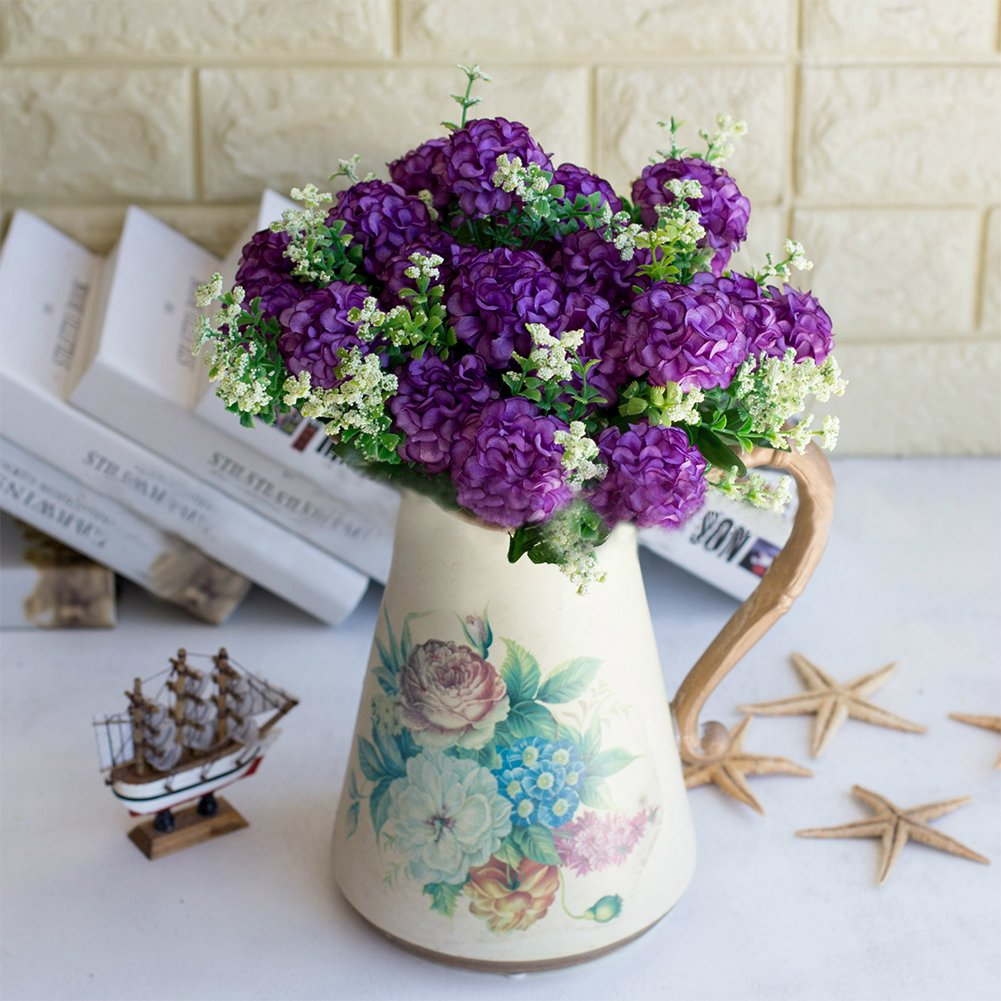 Muzhili3 1 Bouquet Artificielle Faux Chrysanth/ème Fleur Plante D/écor /À La F/ête De Bureau /À La Maison White