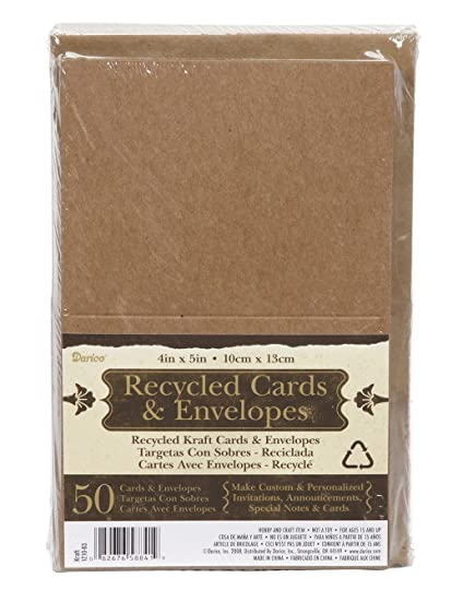 Amazon 100 recycled kraft greeting cards 425x55 100 100 recycled kraft greeting cards 425x55quot 100 envelopes make your m4hsunfo