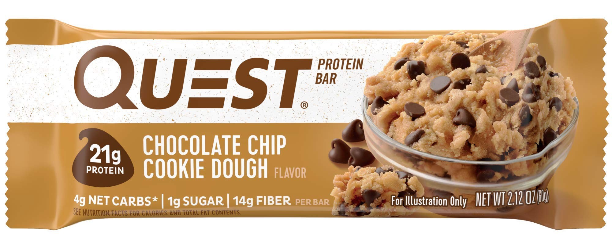 Quest Nutrition Chocolate Chip Cookie Dough Protein Bar High Low Carb Gluten