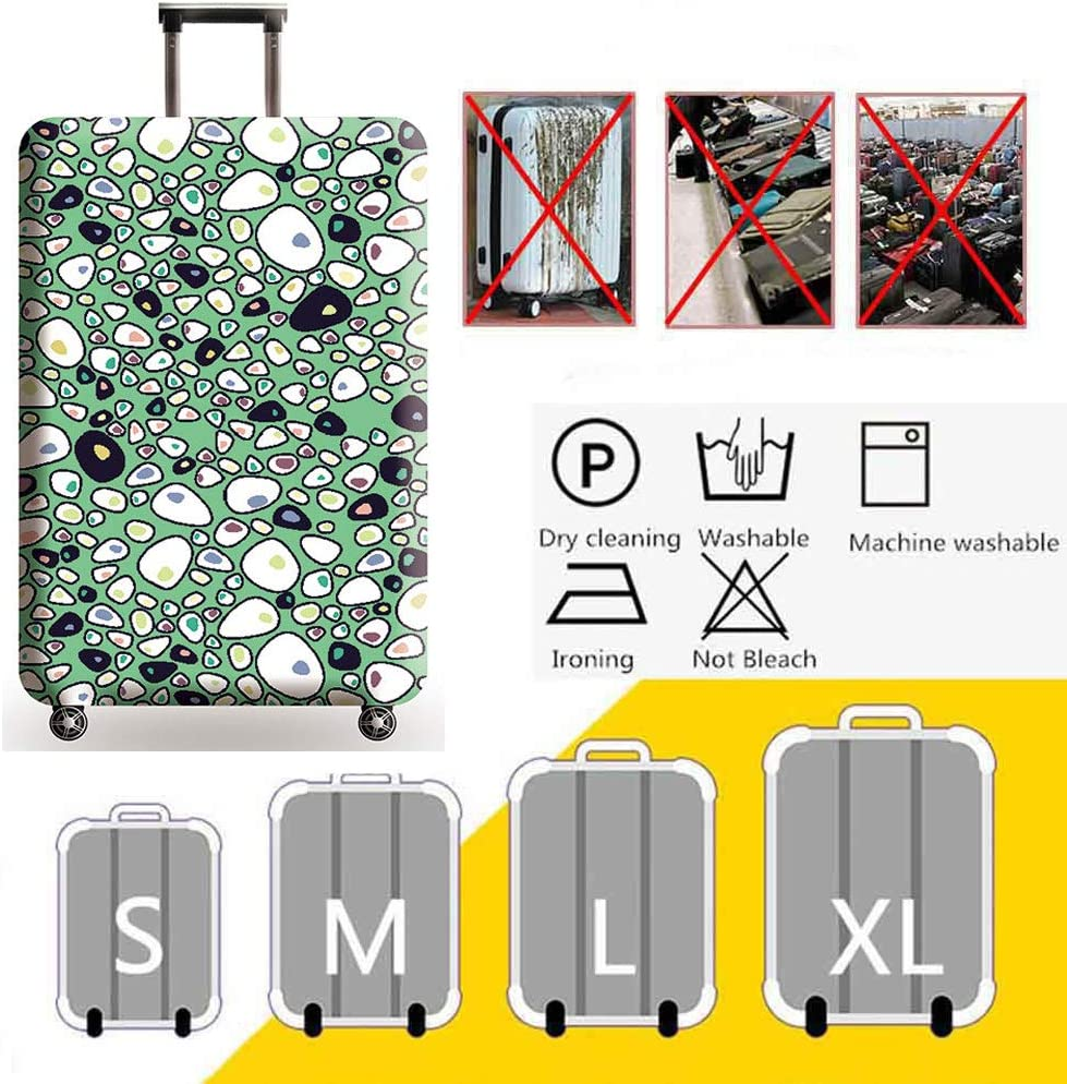 HBWZ 3D Print Design Travel Luggage Protector Suitcase Cover 18-32 Suitcase Dust Cover,C,S