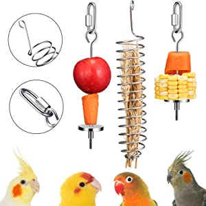 3 Pieces Bird Food Holder Stainless Steel Parrot Hanging Vegetable Fruit Feeder Bird Treat Skewer Include 2 Pieces Small and Large Fruit Fork and a Food Basket, Parrot Foraging Toy