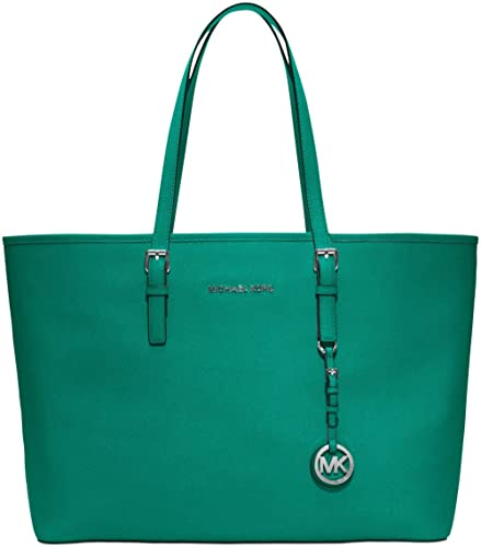 b06a6834482 Image Unavailable. Image not available for. Color  Michael Kors Women s Jet  Set Travel Multifunction Leather Tote (Aqua Silver)