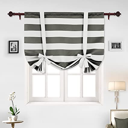 Deconovo Gray Striped Blackout Window Curtains Thermal Insulated Grey And Greyish White Tie Up