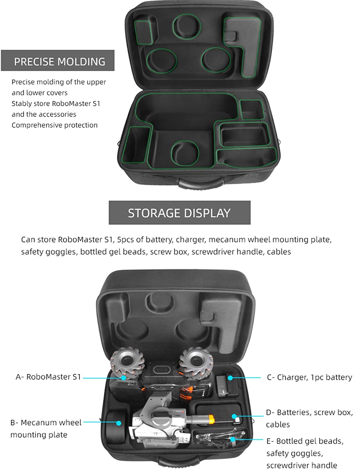 Tineer for RoboMaster S1 Storage Carrying Case,Portable Travel Hand Suitcase for DJI RoboMaster S1 Intelligent Educational Robot