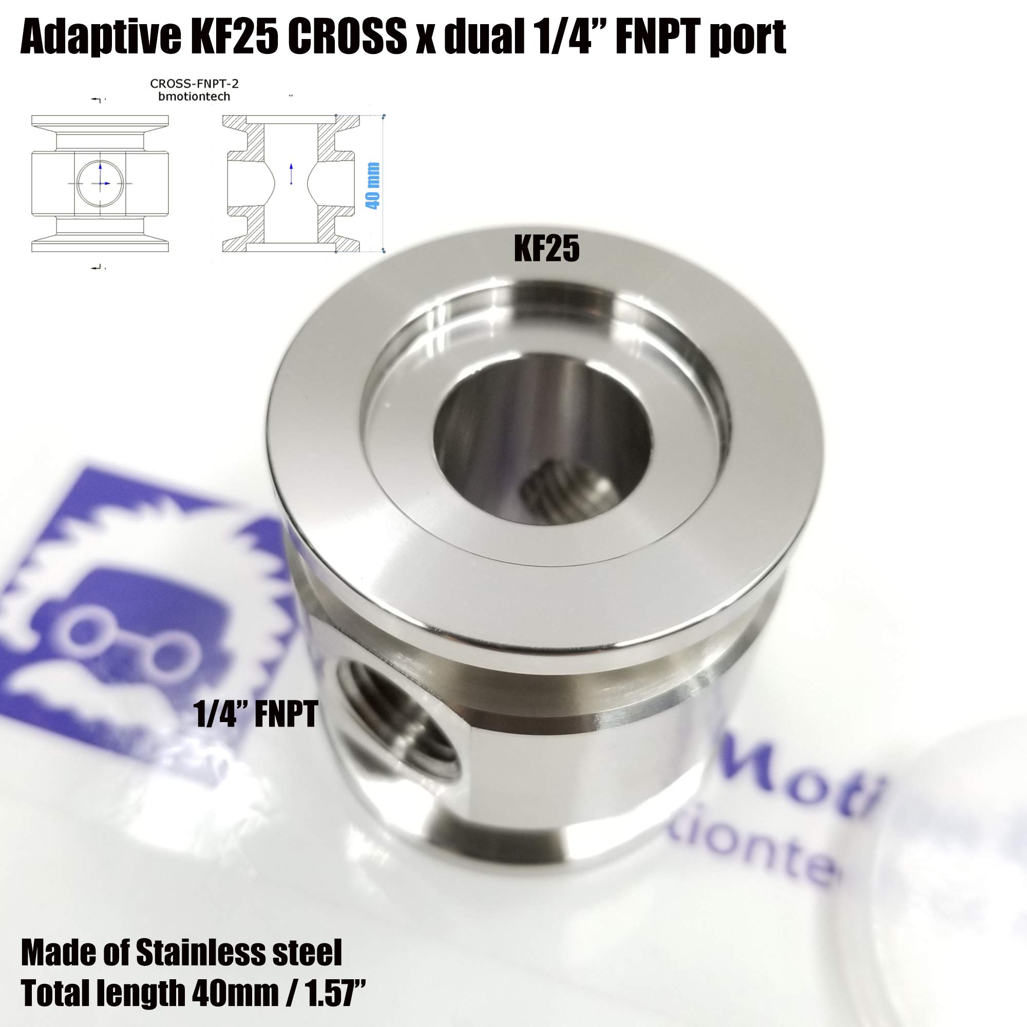 """Vacuum Adaptive Cross Both Ends KF25 Flange and Double Middle 1/4"""" FNPT Port, End to end Length 40 mm by Bmotiontech (Image #3)"""