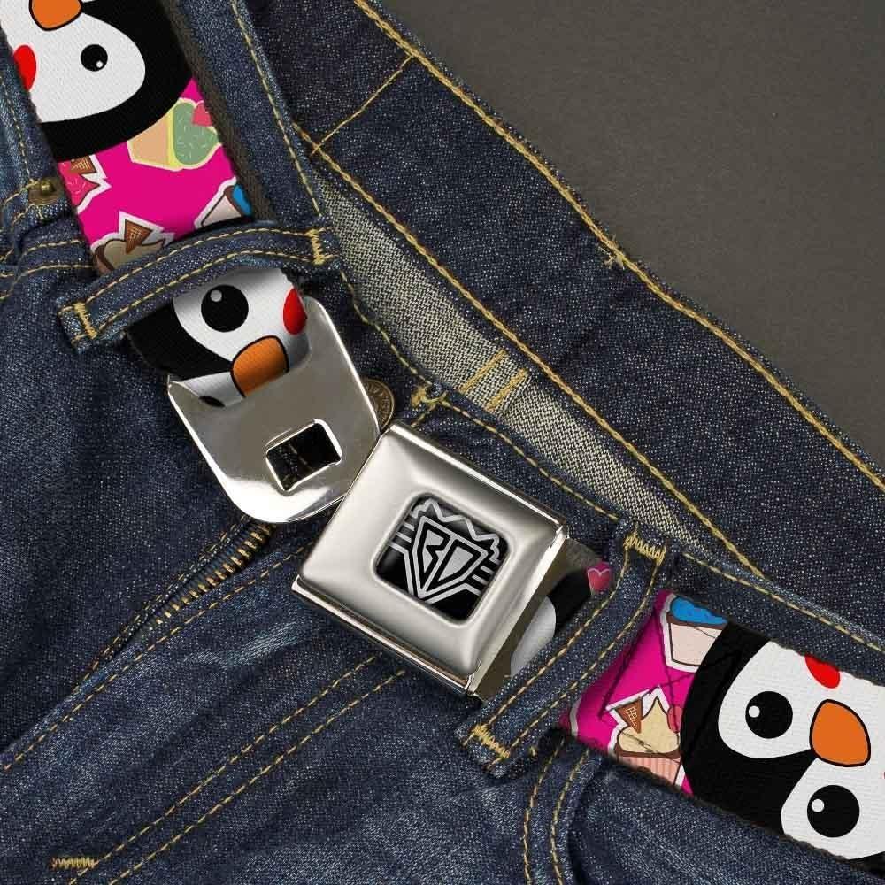 1.5 Wide-24-38 Inches Cupcakes Fuchsia//Multi Color Buckle-Down Unisex-Adults Seatbelt Belt Penguins Regular