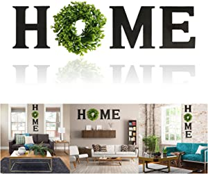 WISHDIAM Wooden Home Sign Wall Hanging Decor for O, 9.8'' Home Letters with Wreath, Rustic Wall Decor Wall Letters Decor for Living Room, Entry Way, Kitchen, Etc (Black)