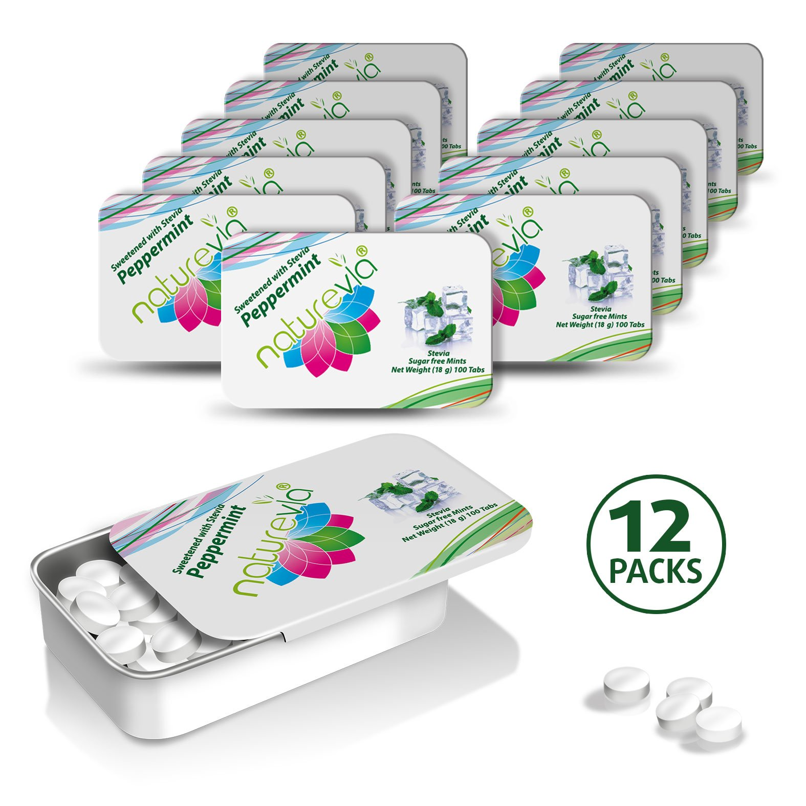 Sugar-Free Mints - Peppermint Flavor(12x100 tabs, 18 g): Mints Naturally Sweetened with Stevia, Free of: Sugar, Carbs, Calories, Glycemic Index, Aspartame & Artificial Sweeteners; Dentist Recommended