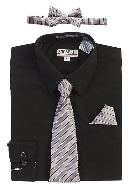 Gioberti Big Boys Long Sleeve Dress Shirt Solid Clip Tie