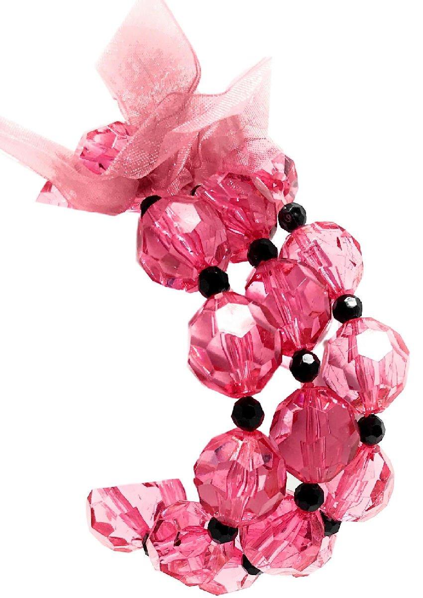 Teen's Fashion Pretty Pink Black Large Bead Chunky Stretch Bracelet Set of 3