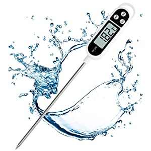 Digital Kitchen Thermometer Cooking Food, Accurate Thermometer with Long Probe, Instant Read with Large LCD Screen, ℉/℃ Button for Hot Beverage, Meat, Grill, BBQ, Jam, Water(Battery Included)