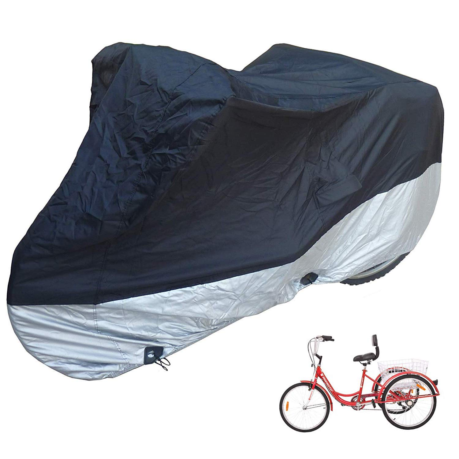 H&ZT Adult Tricycle Cover Bike Cover, Outdoor Bicycle Motocycle Storage Cover, Heavy Duty Ripstop Material, Waterproof & Anti-UV (75'' L x 30'' W x 44'' H) (Black & Silver, 75'' L x 30'' W x 44'' H) by H&ZT