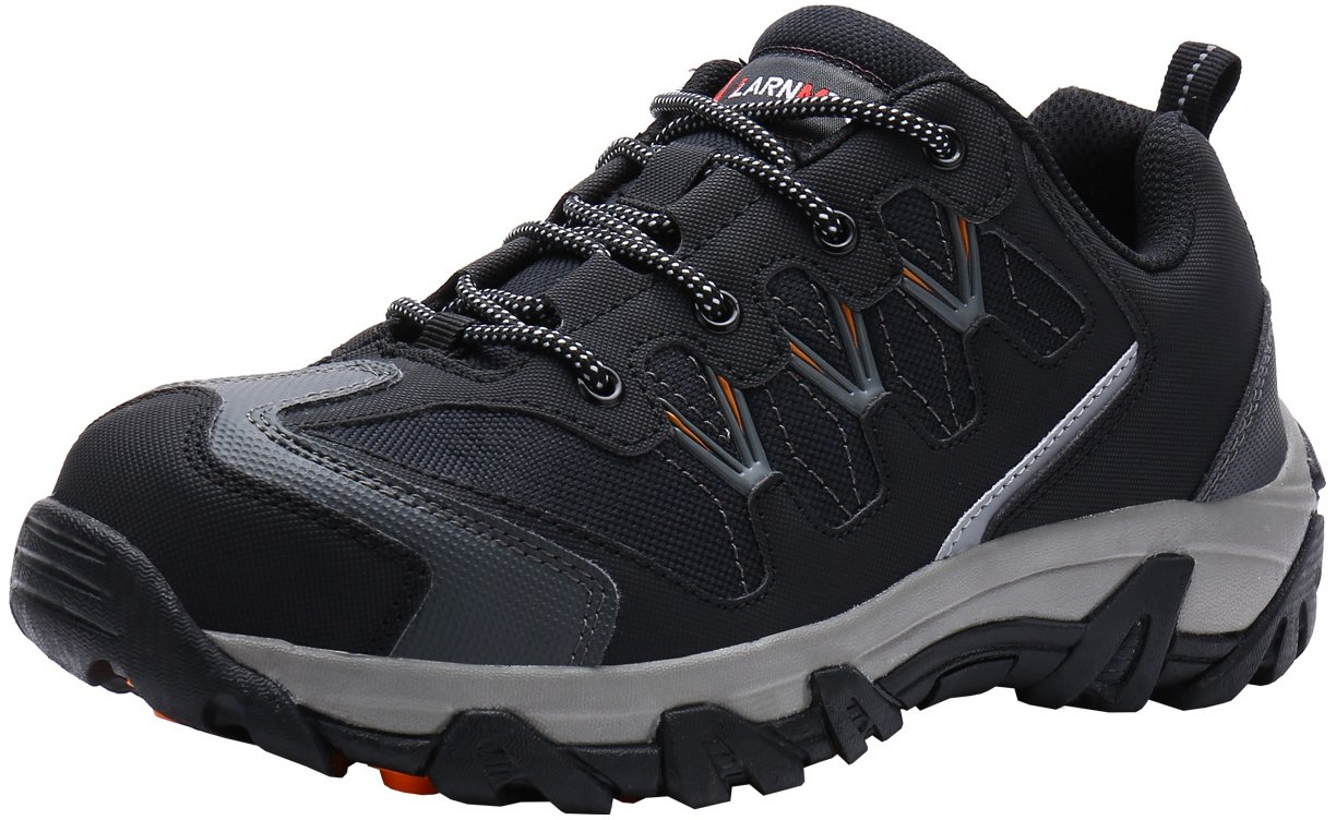 LARNMERN Steel Toe Shoes Men, Safety Work Outdoor Puncture Proof Footwear Industrial & Construction Shoe (10, Black and Grey)