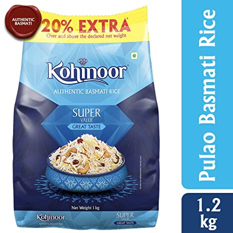 Kohinoor Super Value Basmati Rice, Blue, 1.2kg
