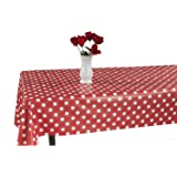 "55"" X 102"" Vinyl Tablecloth Red Polka Design Indoor/Outdoor Tablecloth with Non-Woven Backing"