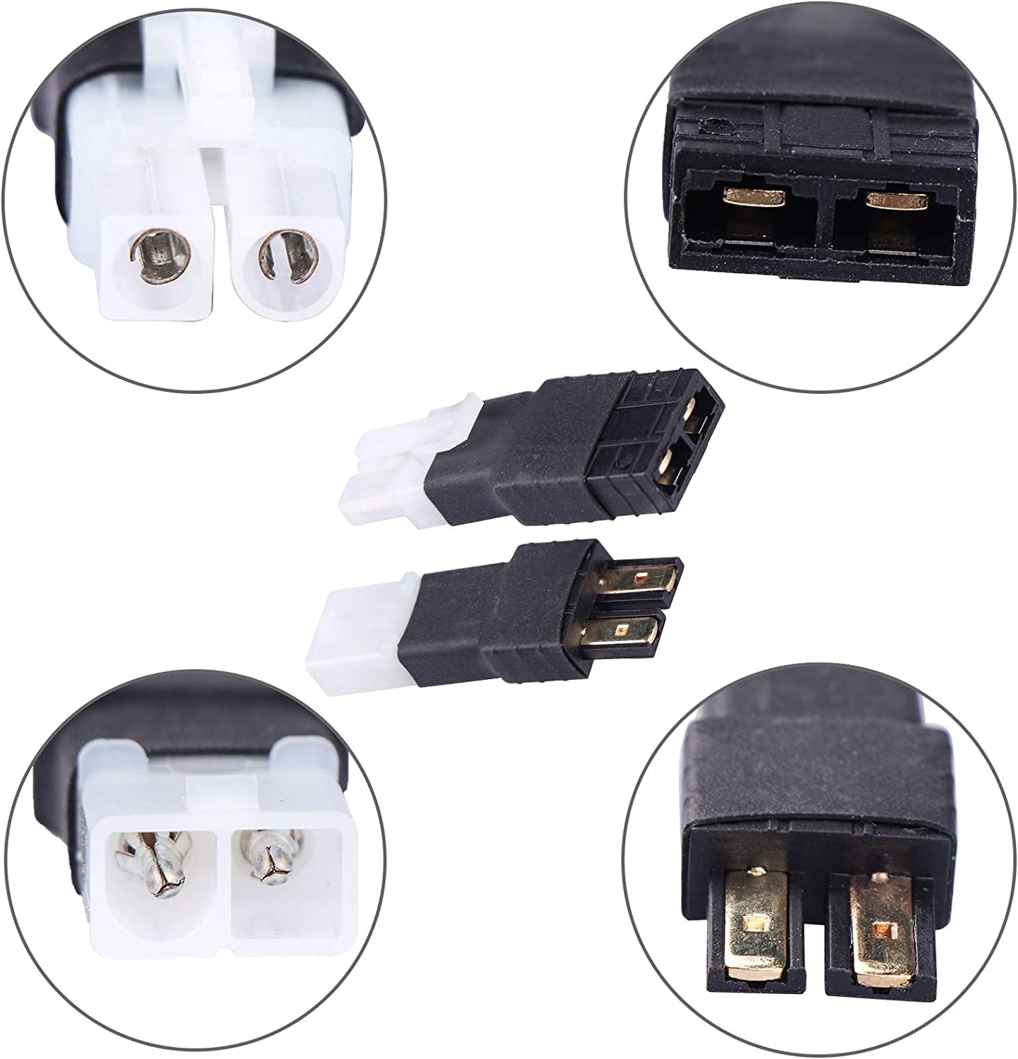 RC Battery Charger Adapter Combo for Traxxas TRX ID Connector to Tamiya Male Female Charging or Converting Battery Plugs 5-Pack