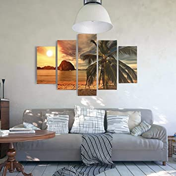 Feeby Frames Tableau sur Toile Palmier 5 pi/èces Moderne Jaune 150x100 cm