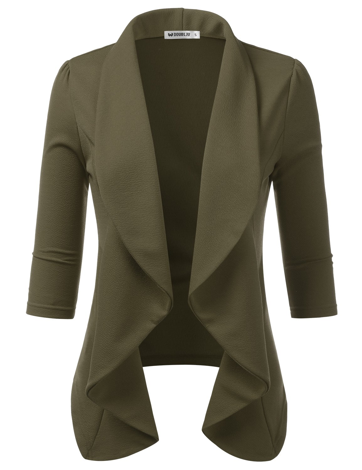 Doublju Womens Plain Simple Thin Lightweight 3/4 Sleeve Open Blazer Jacket with Plus Size Olive Large