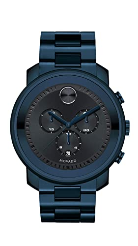 Movado Men s Bold Men s Metals Chronograph PVD Watch with a Printed Index Dial, Blue Model 3600279