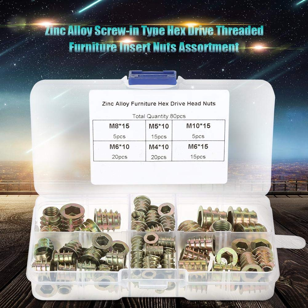 Hex Drive Head Nut 80PCS Threaded Furniture Insert Nuts Set M4//M5//M6//M8//M10 Furniture Nut Screw-in Type Hex Drive for Mechanical Fastener Industry