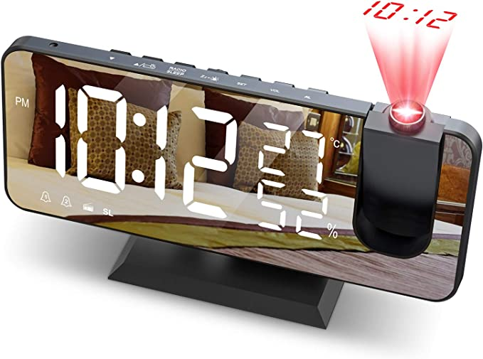 JIGA Despertador Digital Radio FM Despertador Proyector 180 ...